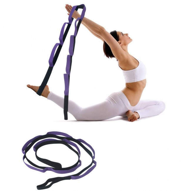 FITSY® Stretching Strap for Yoga with 8 loops - Purple Color