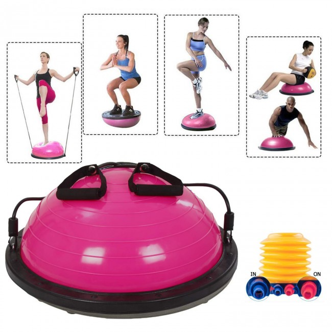 FITSY Stability Exercise Ball with Resistance Bands - Pink
