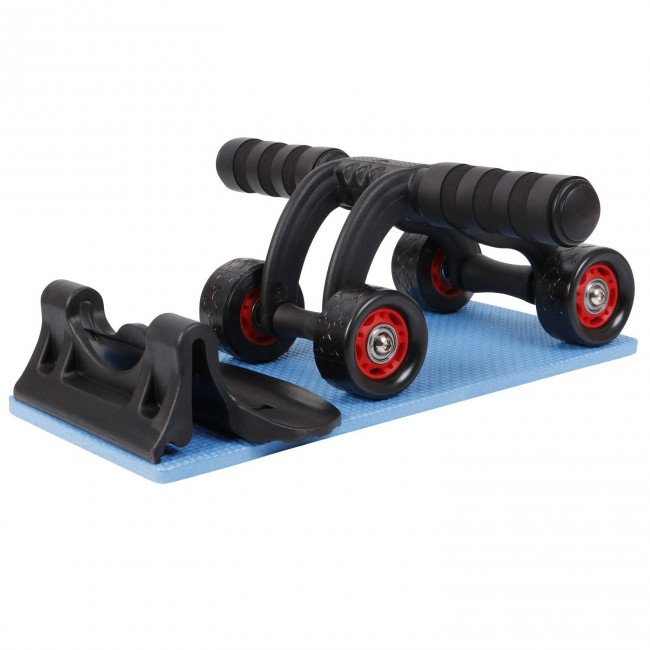 FITSY Upgraded 4-Wheel Ab Roller with Knee Mat & Floor Wedge